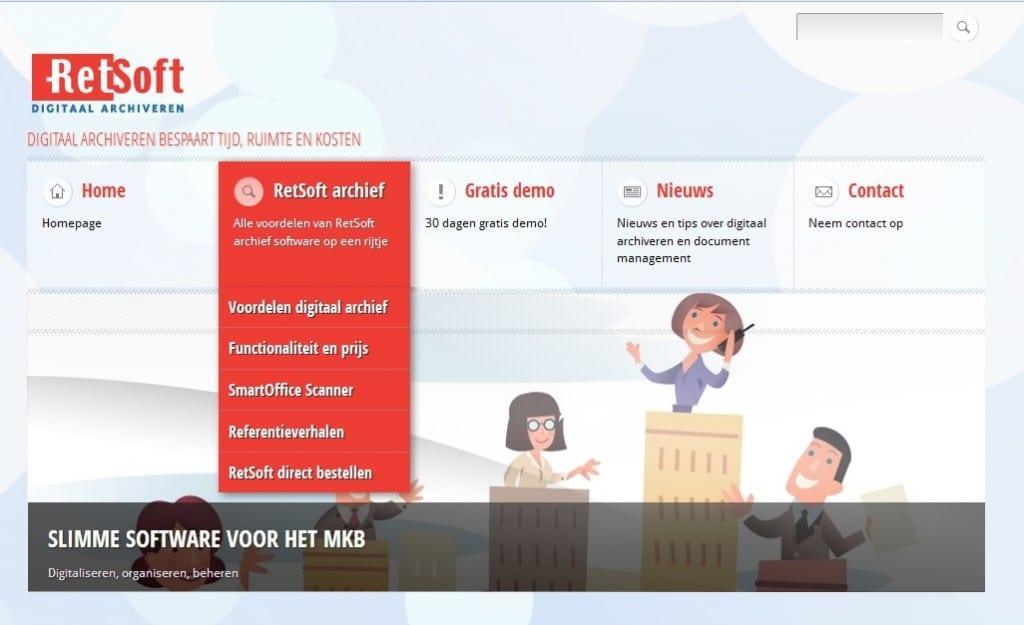 Archiefsoftware – website voor de verkoop van een softwarepakket