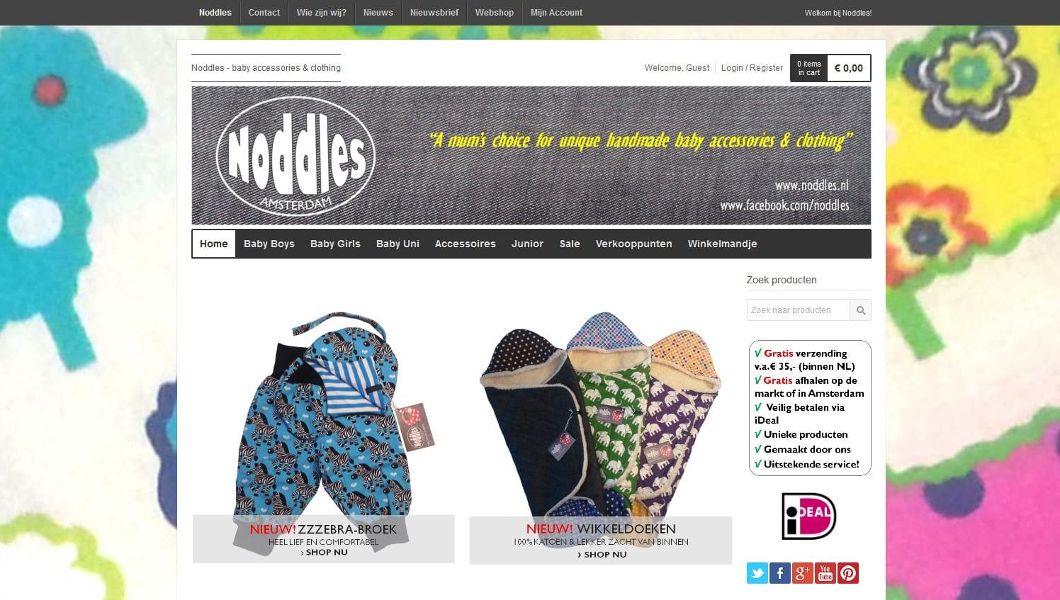 plaatje van een stukje van de homepage van noddles.nl