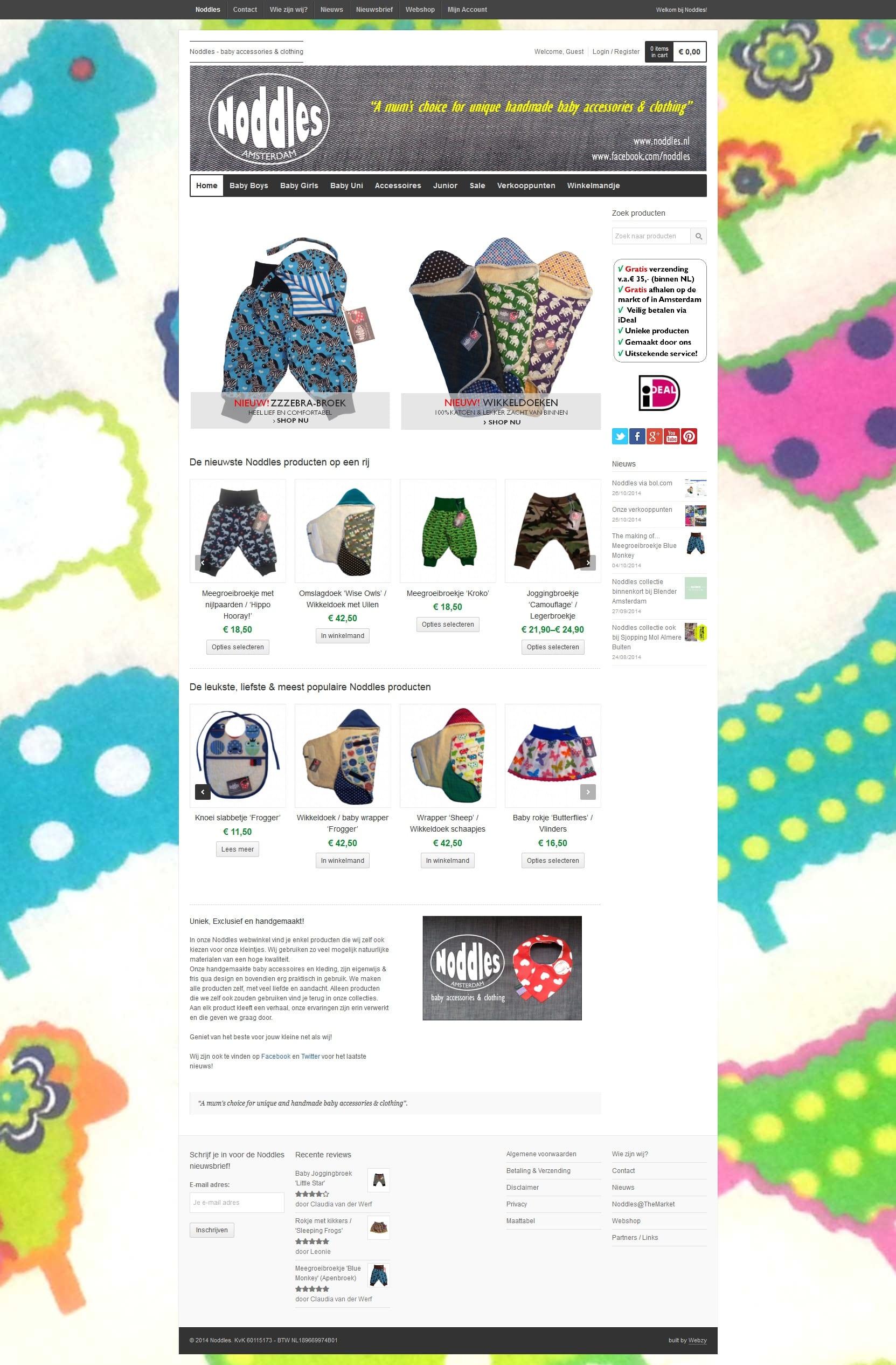 plaatje van de homepage van noddles.nl