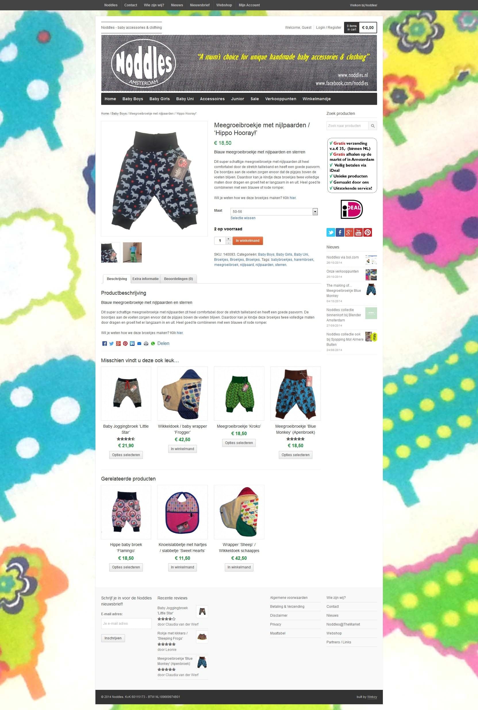 plaatje van een productpagina van noddles.nl