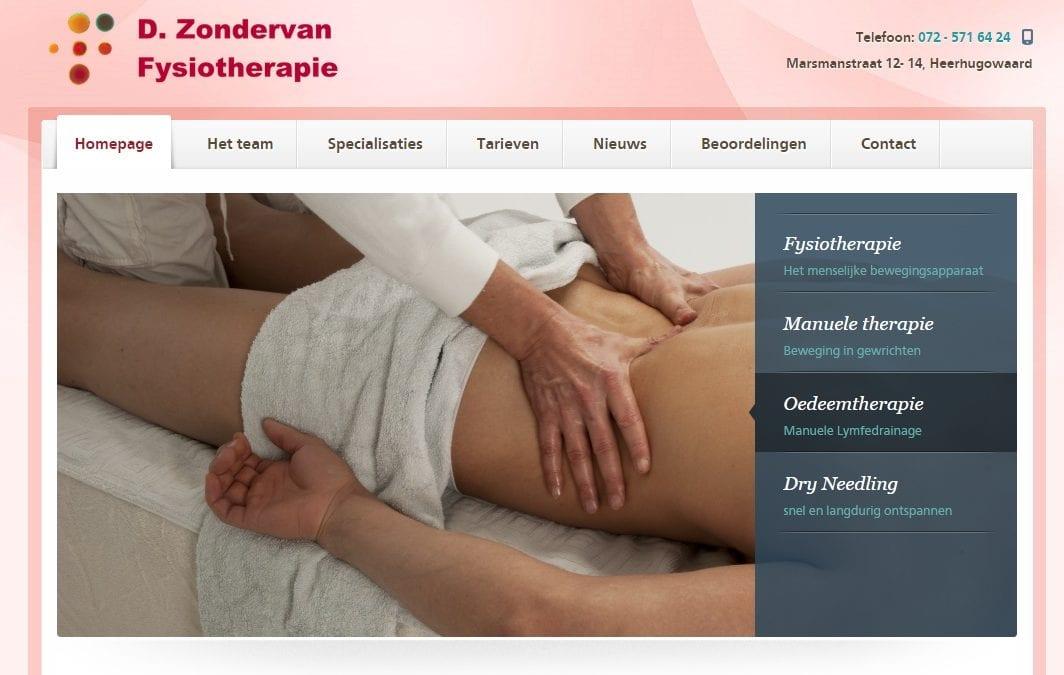 Fysiozondervan.nl – website voor praktijk fysiotherapie