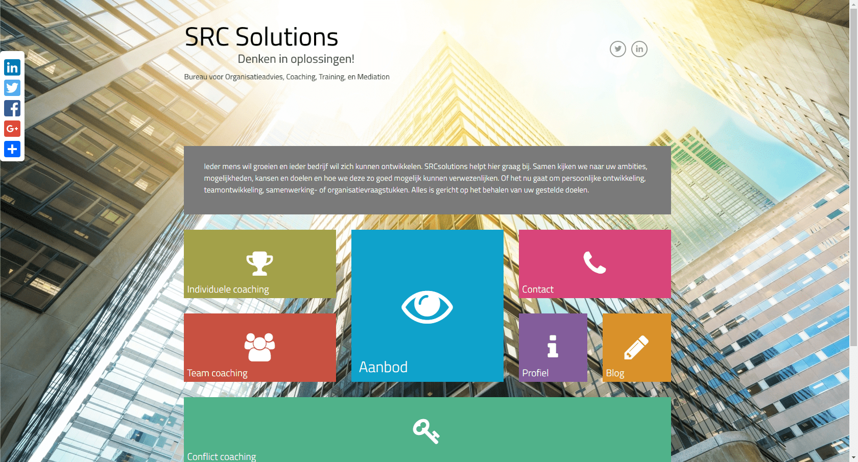 SRC Solutions - website voor een organisatiebureau