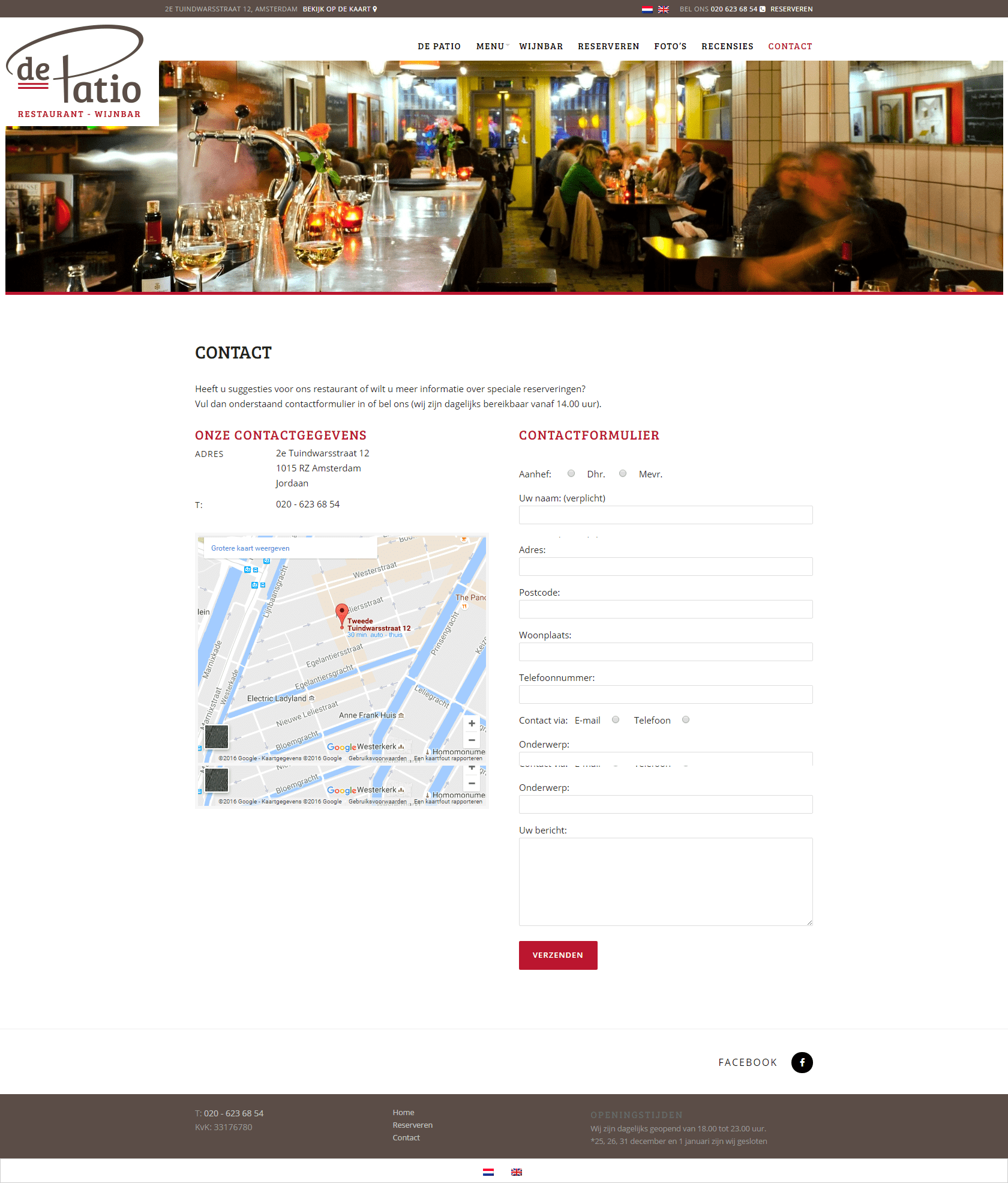 De Patio - website voor een restaurant