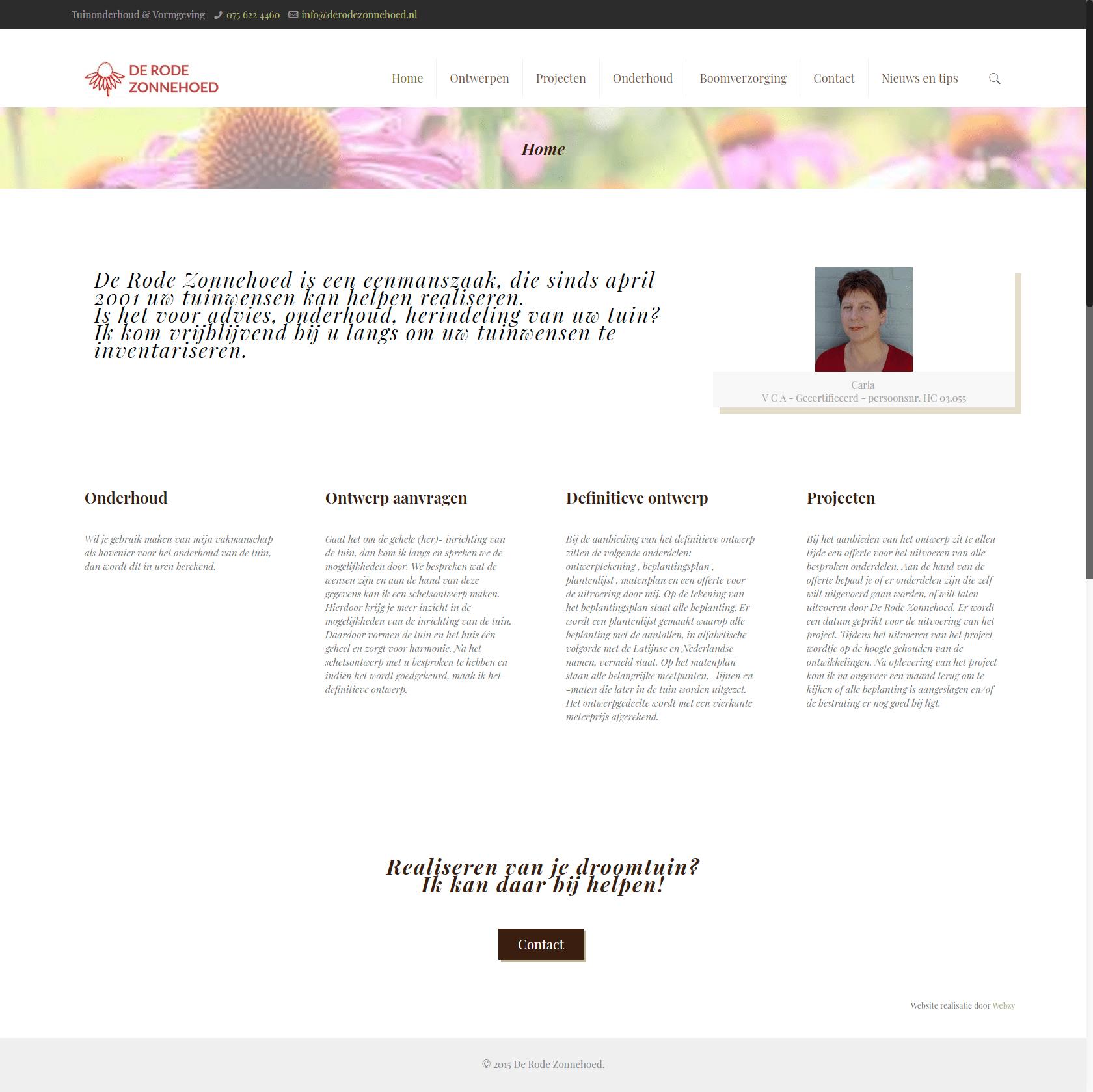 De Rode Zonnehoed - website voor een tuinarchitect
