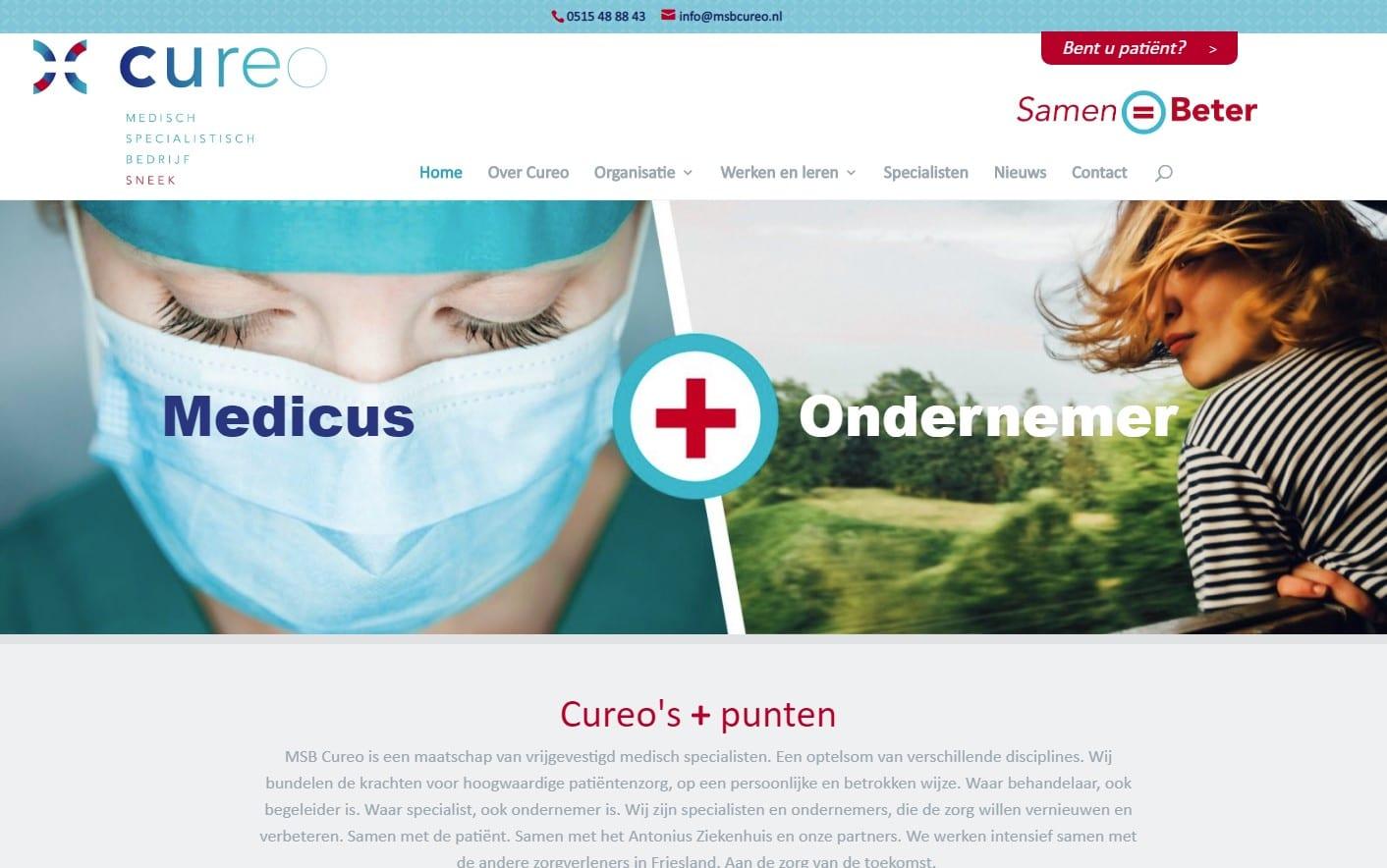 Cureo - website voor een medisch specialistisch bedrijf