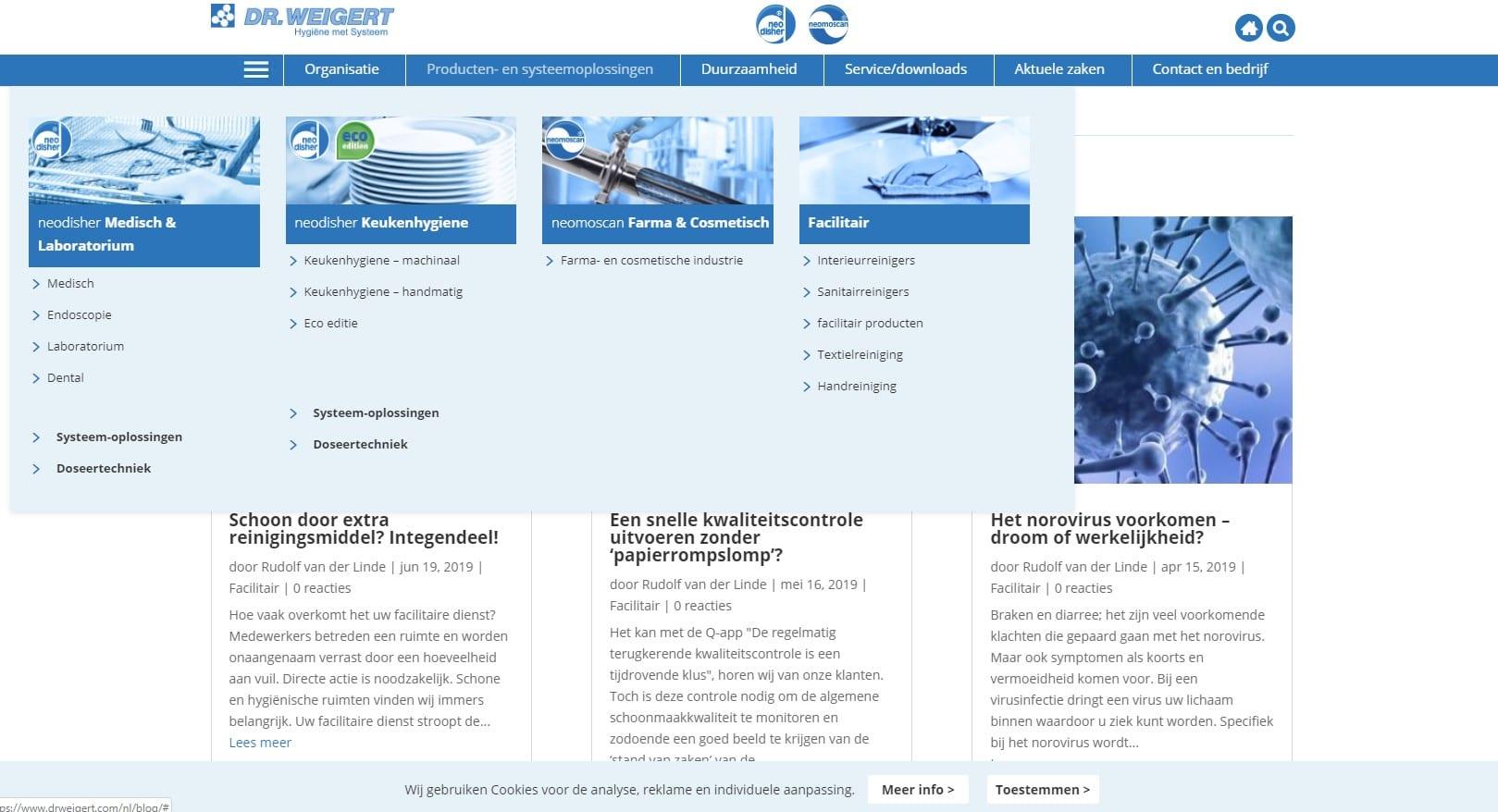 Dr. Weigert - blogsite voor bedrijf met hygiënische oplossingen