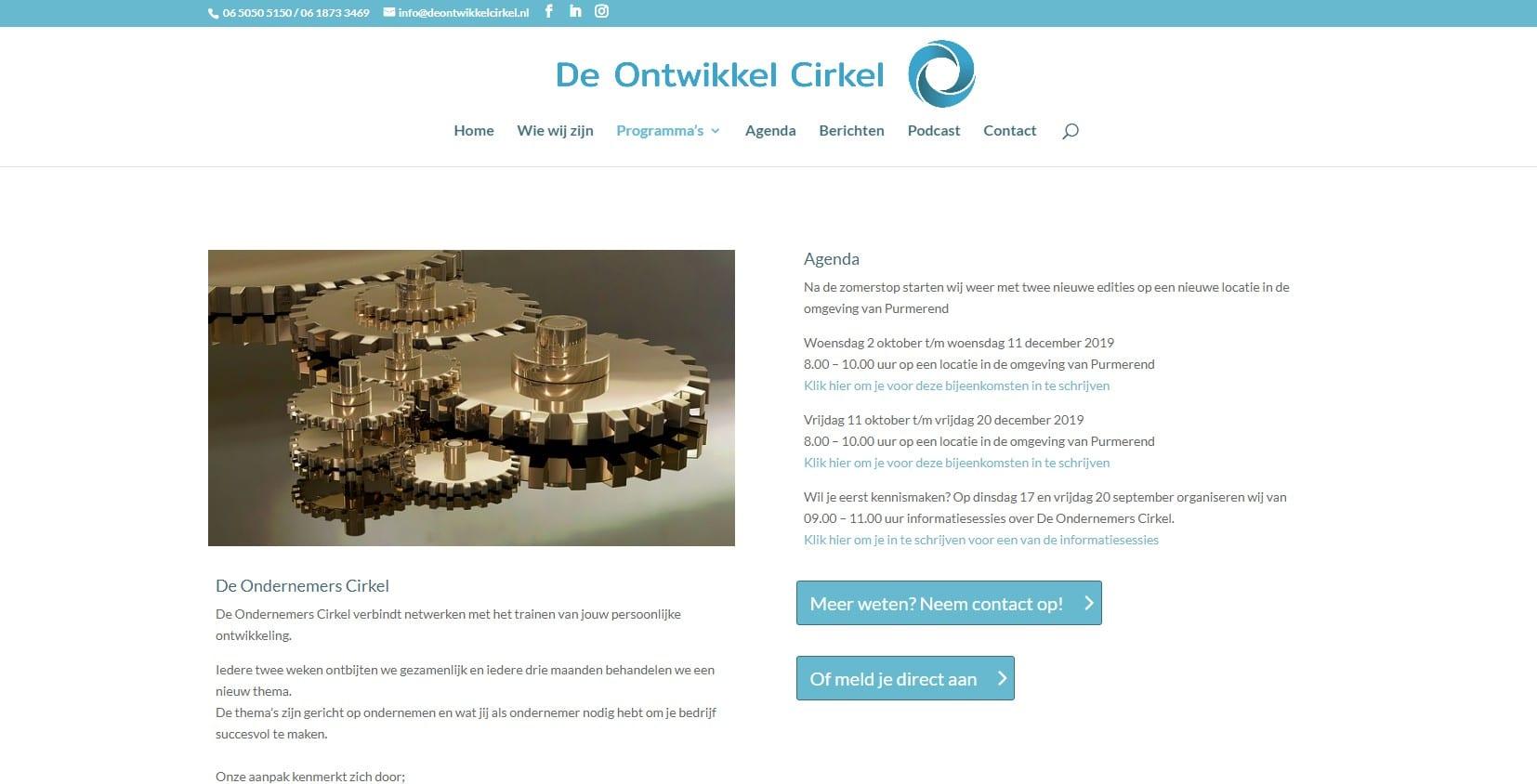De Ontwikkelcirkel - een website voor coaching