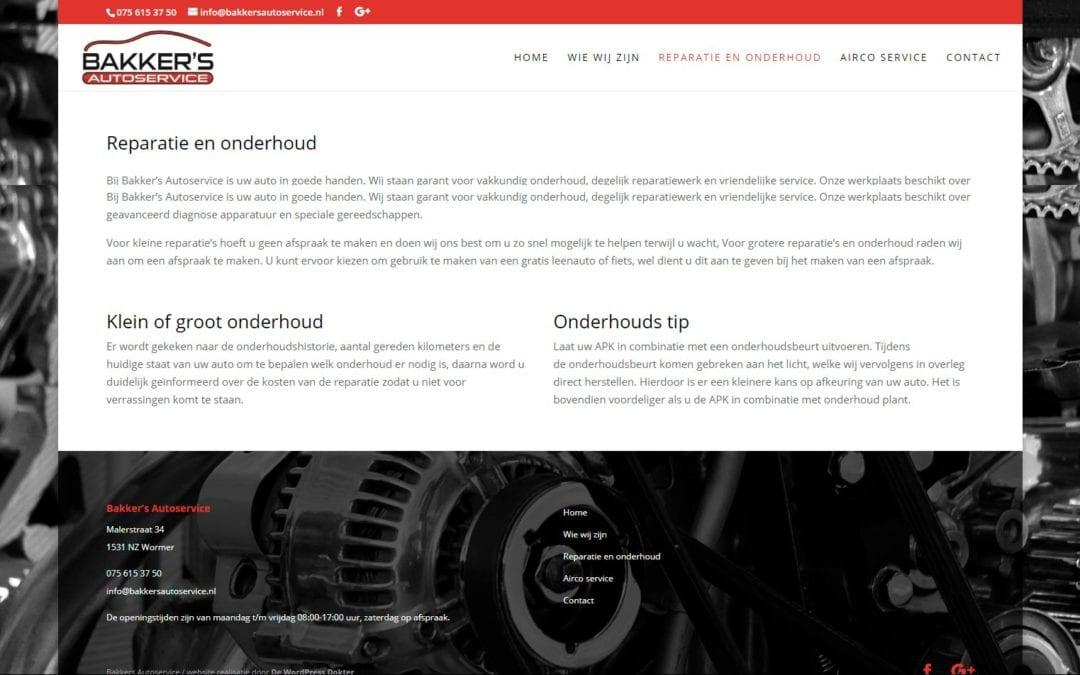 Bakker's Autoservice – website voor een autogarage