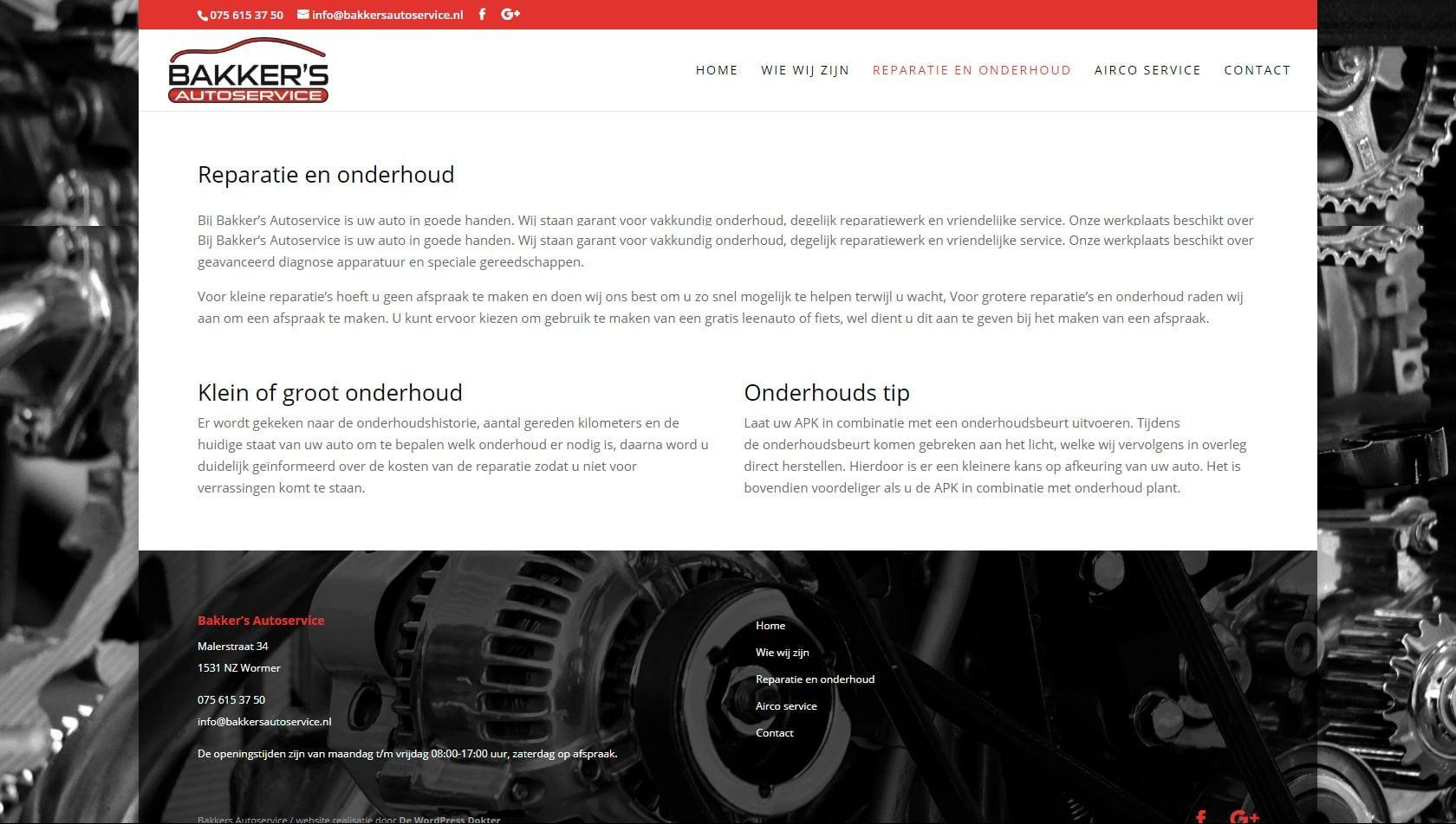 Bakker's Autoservice - website voor een autogarage